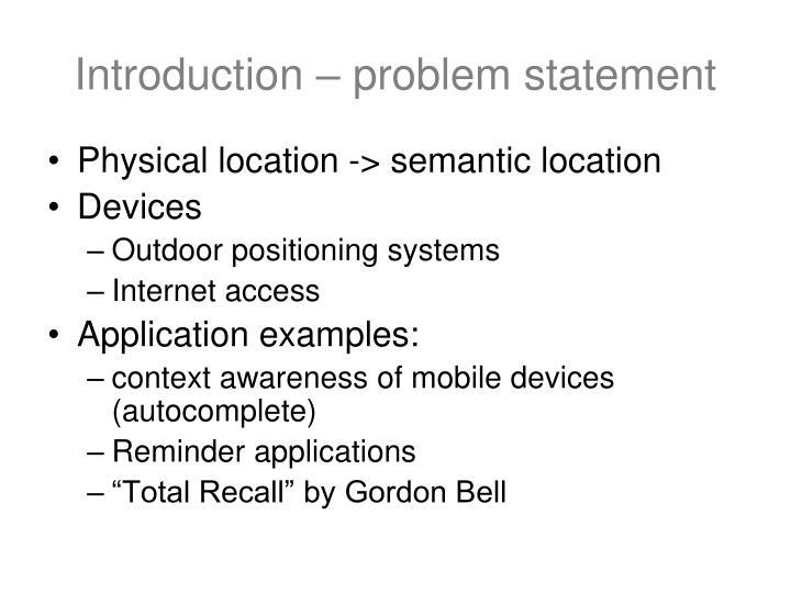 Introduction – problem statement