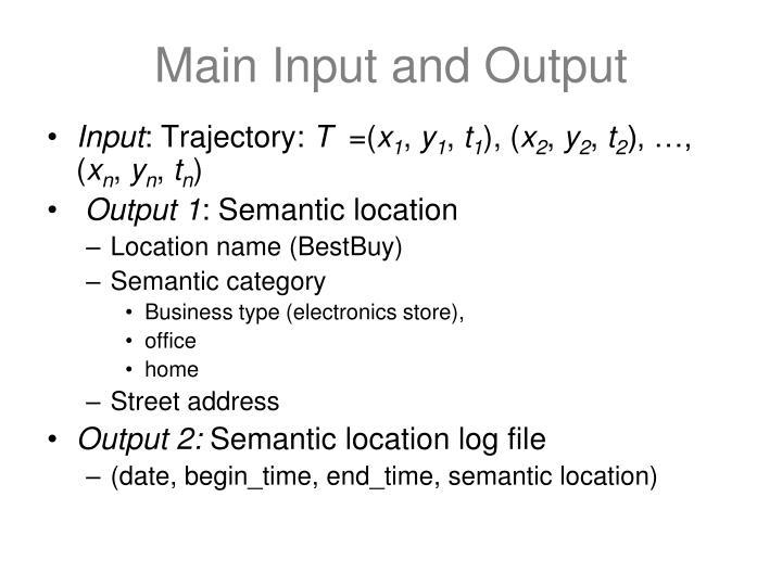 Main Input and Output