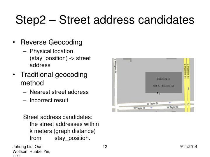 Step2 – Street address candidates