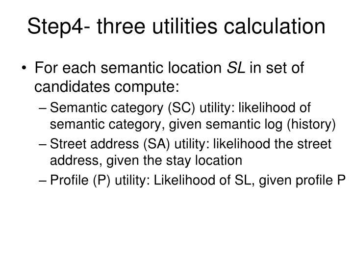 Step4- three utilities calculation