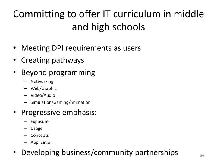 Committing to offer IT curriculum in middle and high schools