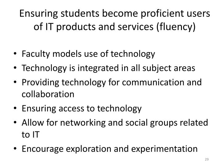 Ensuring students become proficient users of IT products and services (fluency)