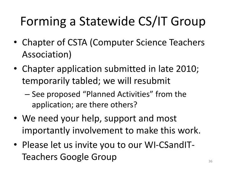 Forming a Statewide CS/IT Group