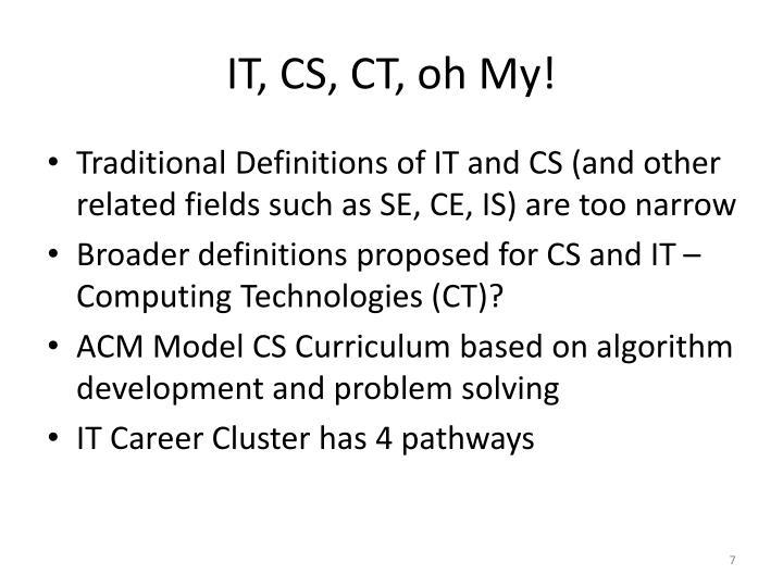 IT, CS, CT, oh My!