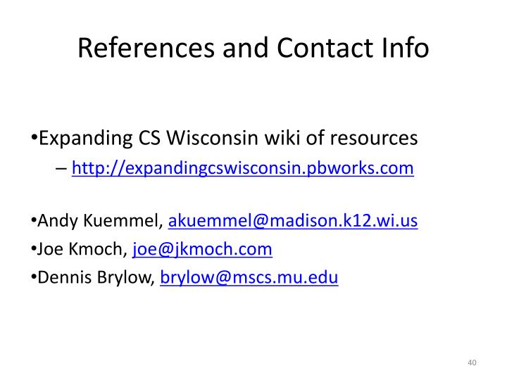 References and Contact Info