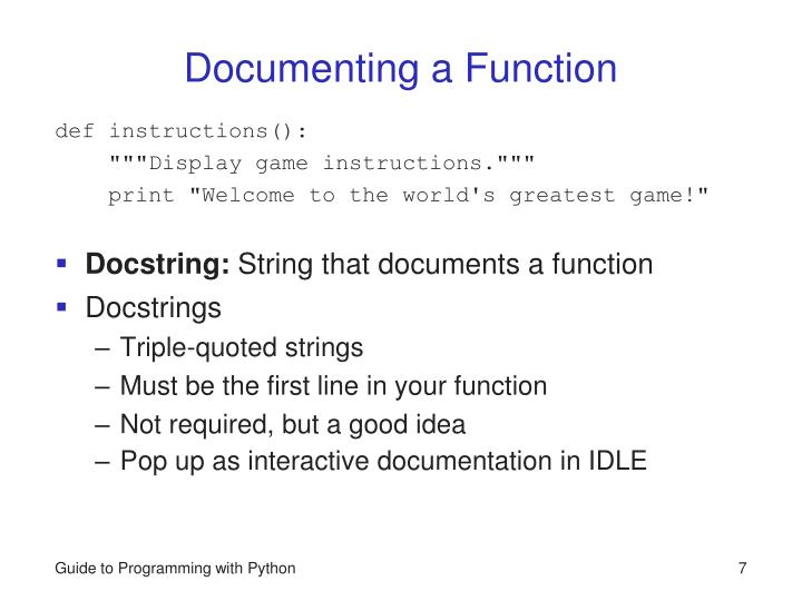 Documenting a Function