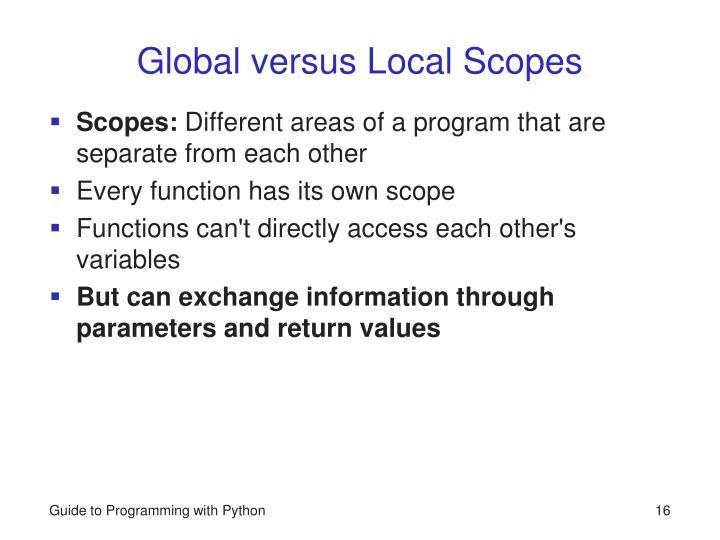 Global versus Local Scopes