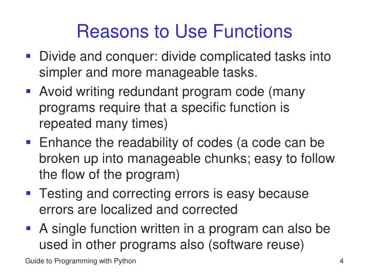 Reasons to Use Functions