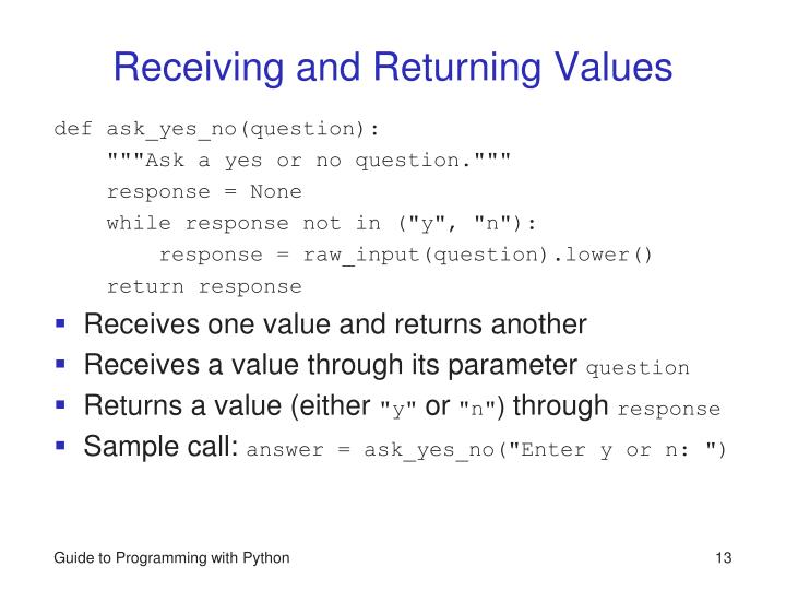 Receiving and Returning Values