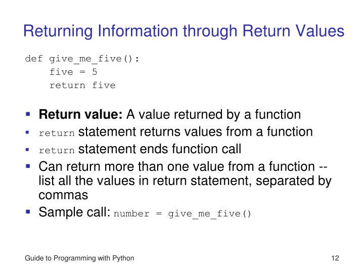Returning Information through Return Values
