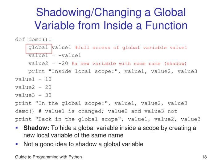 Shadowing/Changing a Global Variable from Inside a Function