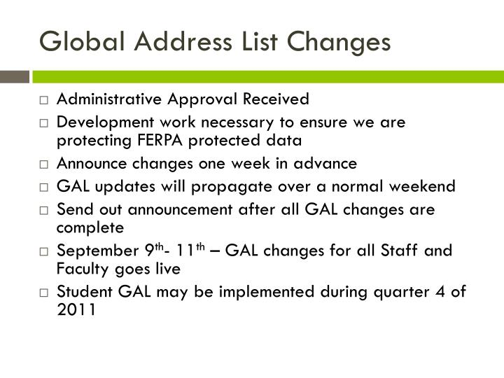 Global Address List Changes
