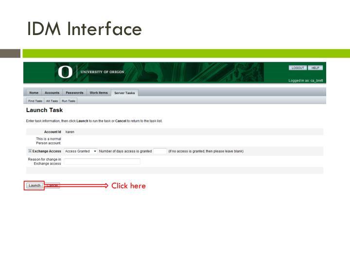 IDM Interface