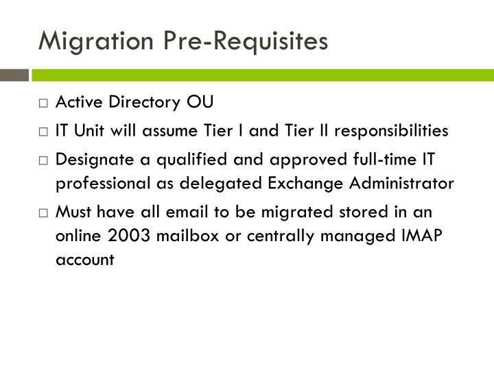 Migration Pre-Requisites