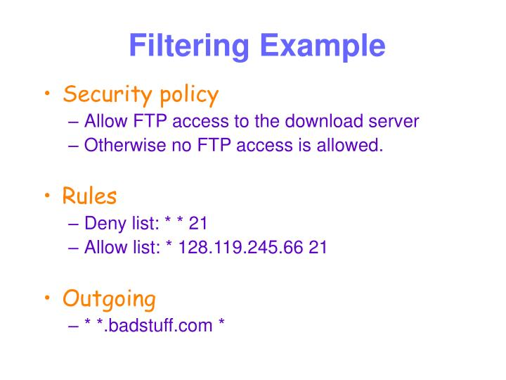 Filtering Example