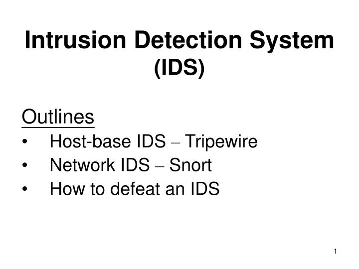 Intrusion detection system ids