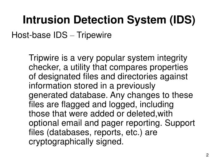 Intrusion detection system ids1