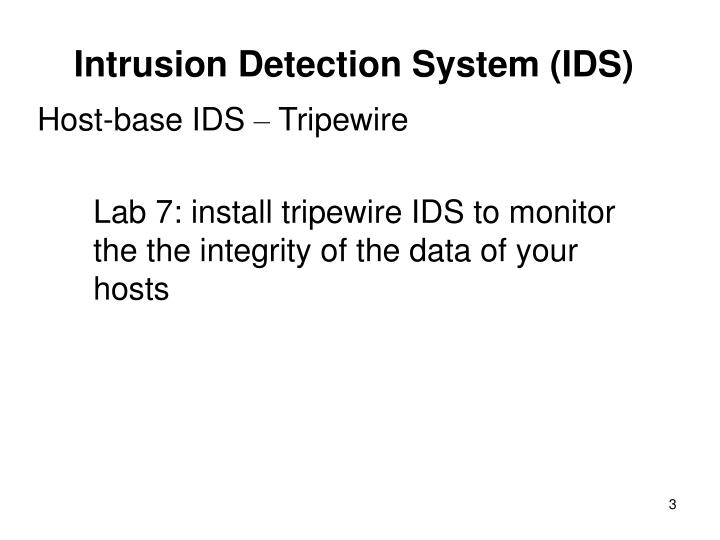 Intrusion detection system ids2