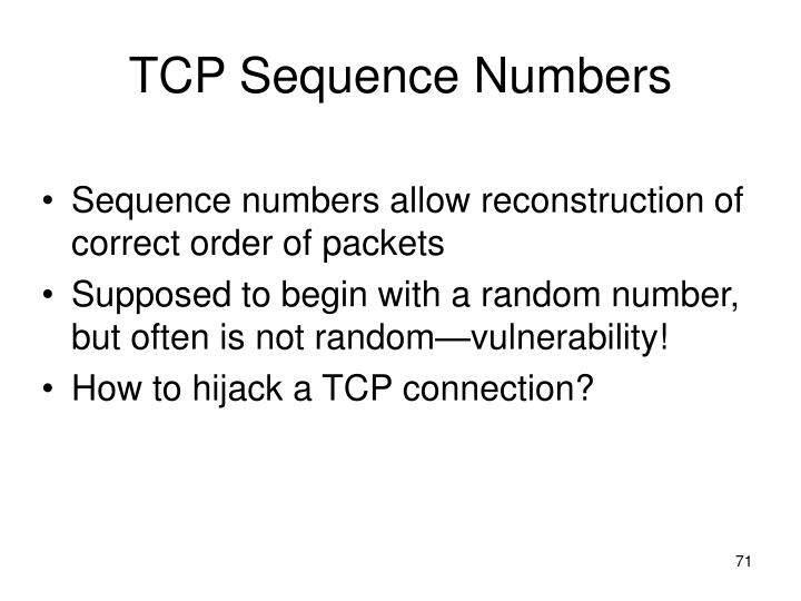TCP Sequence Numbers