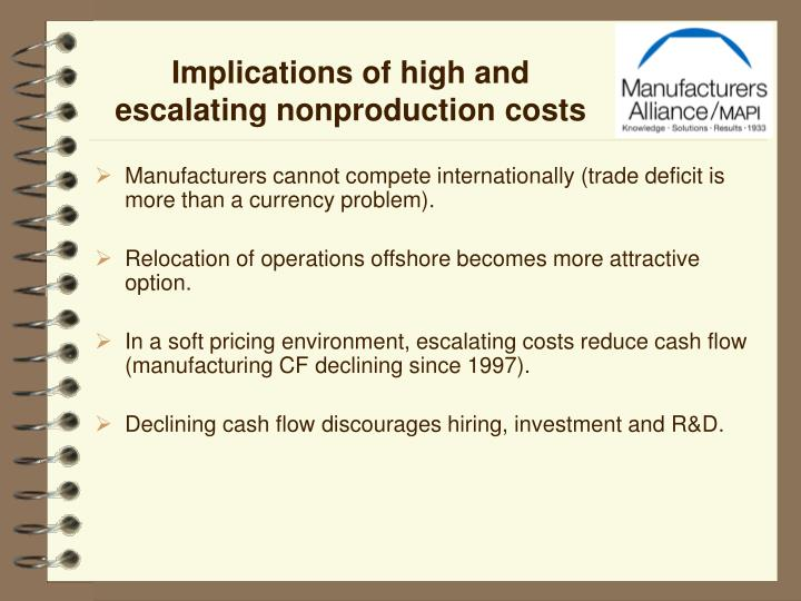 Implications of high and escalating nonproduction costs