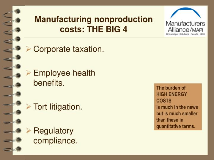 Manufacturing nonproduction