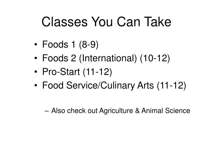 Classes You Can Take