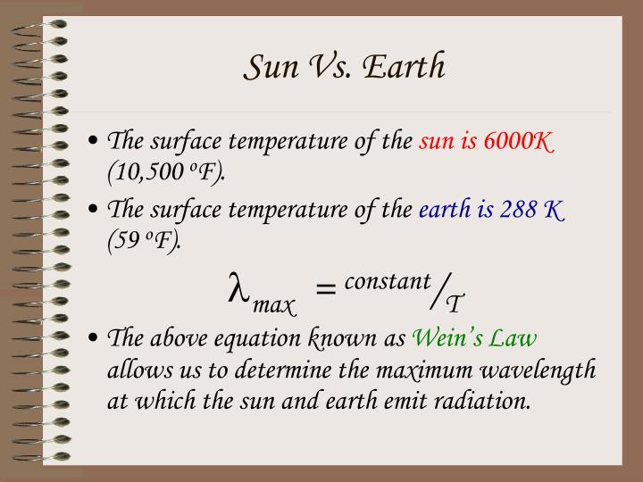 Sun Vs. Earth