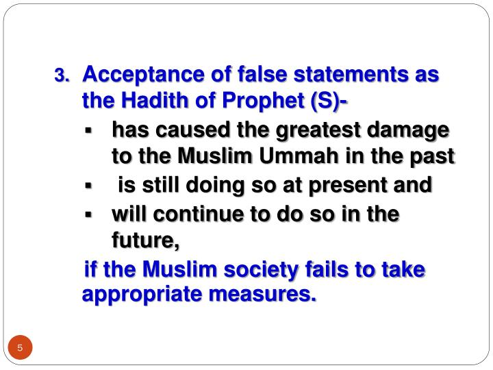 Acceptance of false statements as the