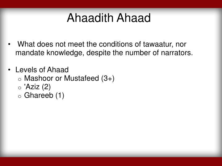 Ahaadith Ahaad