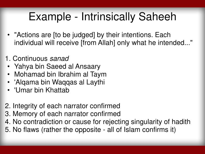 Example - Intrinsically Saheeh