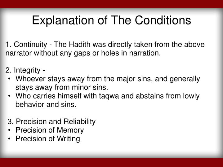 Explanation of The Conditions