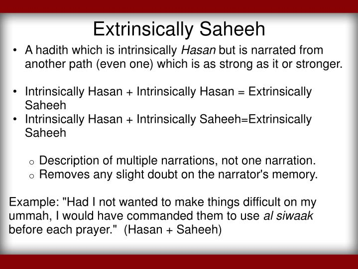 Extrinsically Saheeh