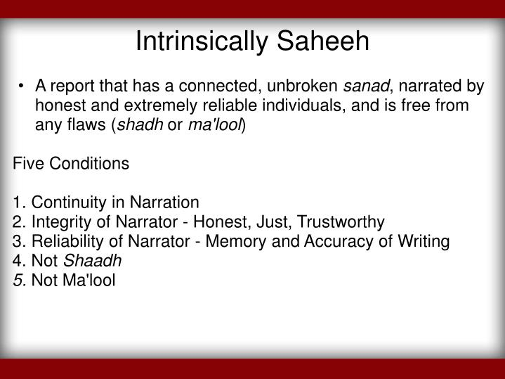 Intrinsically Saheeh