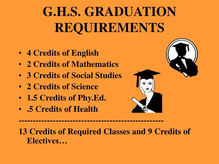G.H.S. GRADUATION REQUIREMENTS