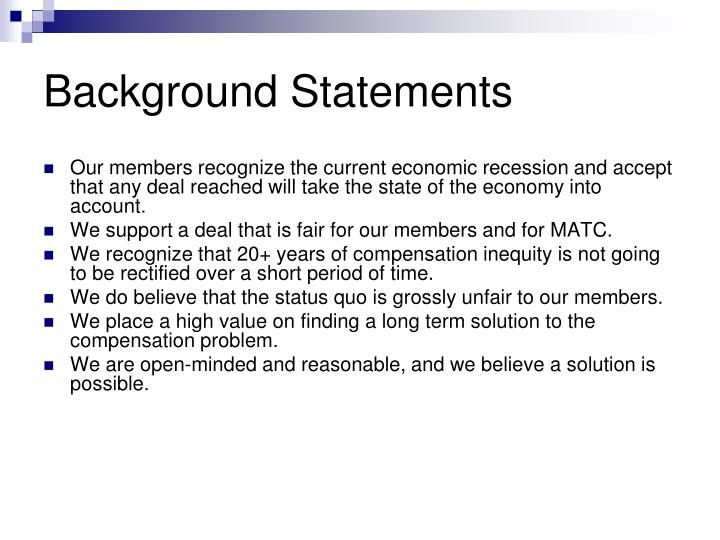 Background Statements