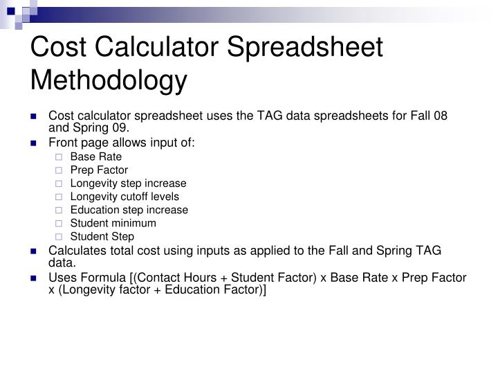 Cost Calculator Spreadsheet Methodology