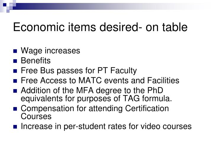 Economic items desired- on table