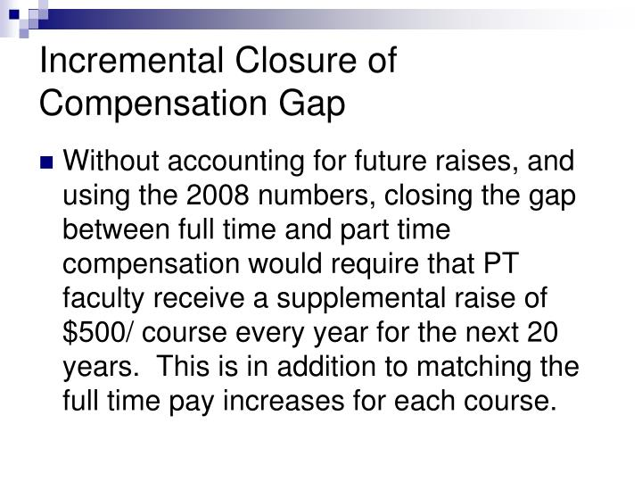 Incremental Closure of Compensation Gap