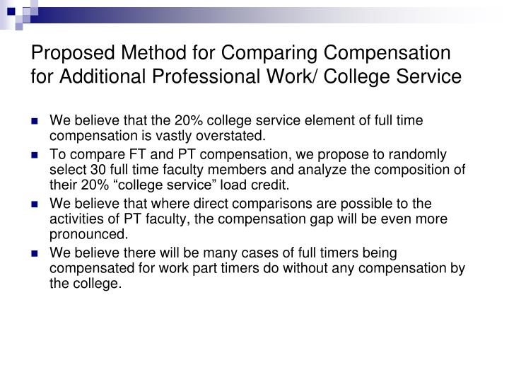 Proposed Method for Comparing Compensation for Additional Professional Work/ College Service