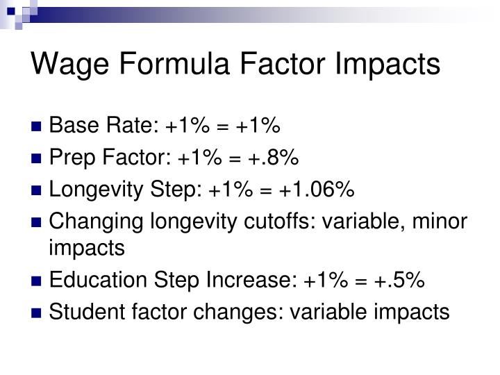 Wage Formula Factor Impacts