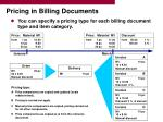 pricing in billing documents