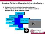 selecting fields for materials influencing factors