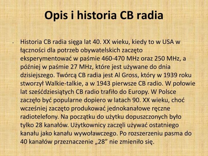 Opis i historia cb radia