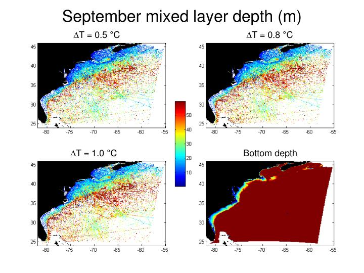 September mixed layer depth (m)