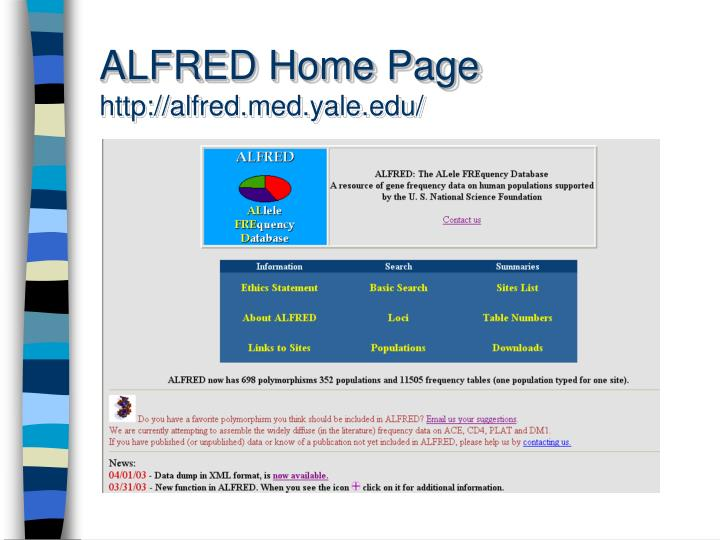 Alfred home page http alfred med yale edu