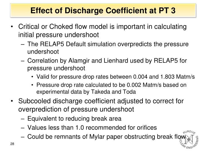 Effect of Discharge Coefficient at PT 3