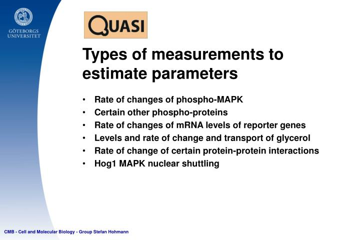 Types of measurements to estimate parameters