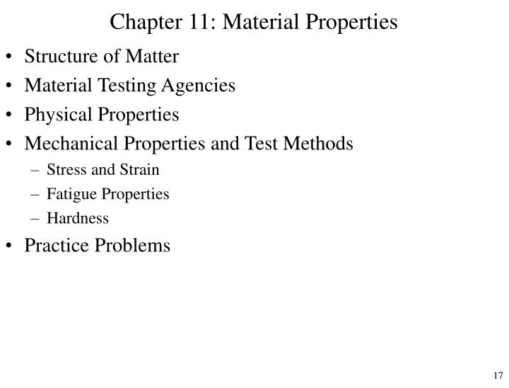 Chapter 11: Material Properties