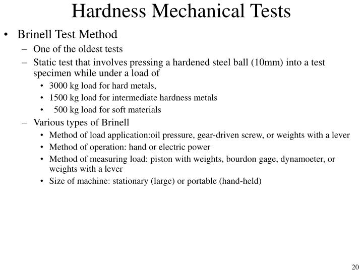 Hardness Mechanical Tests
