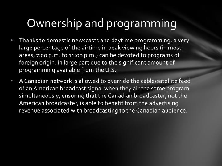 Ownership and programming